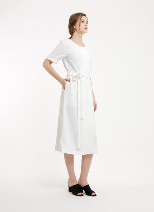 Renoir White Maya Wrap Dress