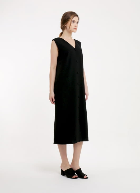 Renoir Black Lena Sleeveless Dress