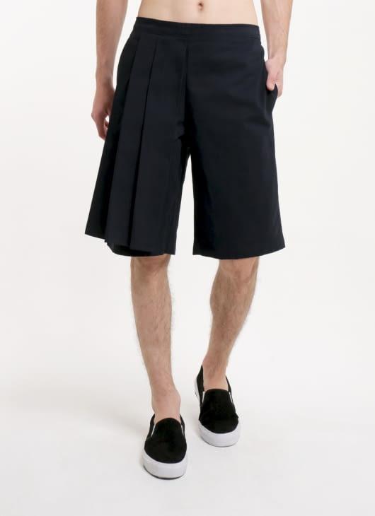 Moral Navy Blue Bebat Side Pleats Short