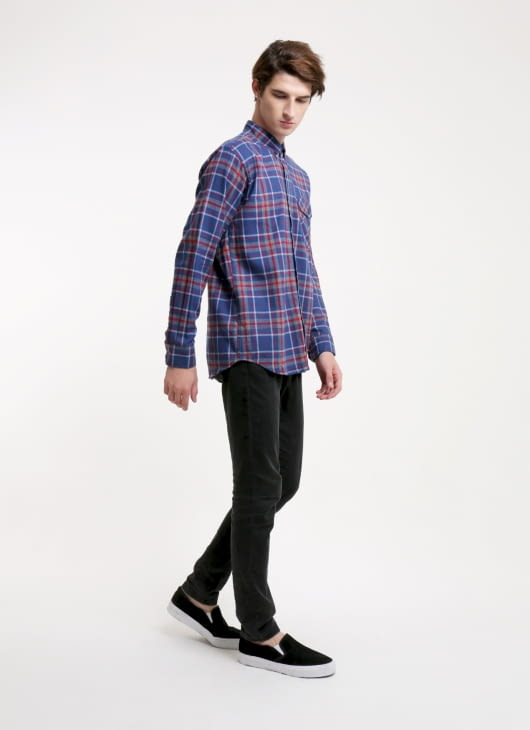 QUTN Iris Blue Plaid Button Down Shirt