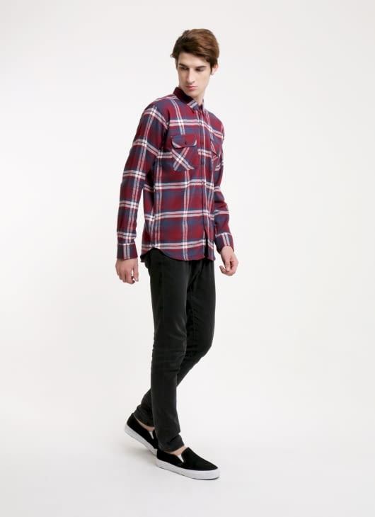 QUTN Burgundy Plaid Button Down Shirt