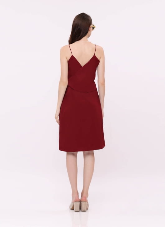 Wearstatuquo Maroon Let Loose Dress