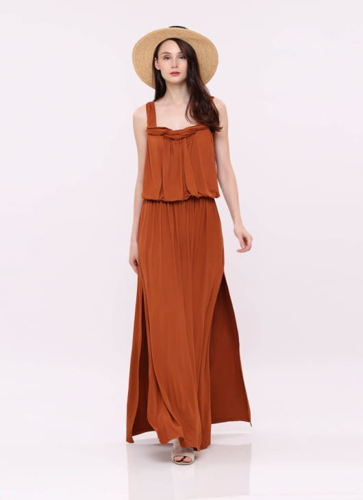 Wearstatuquo Terracotta Maxi Chill Dress