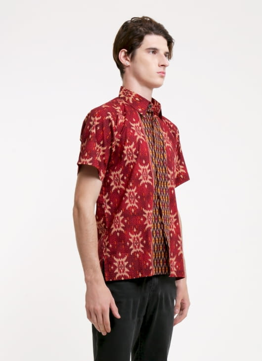 Rianty Batik Red Antonio Songket Batik Shirt
