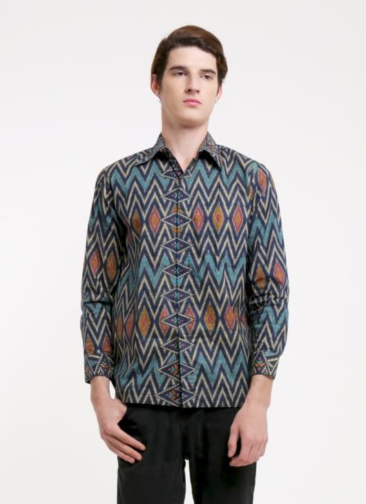 Rianty Batik Green AC Batik Tenun Shirt
