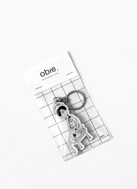 Obie Black & White Meow.05 Keychain