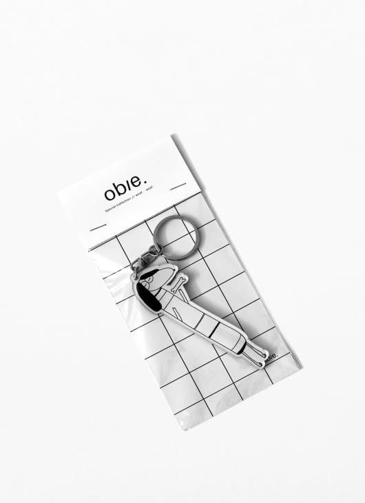 Obie Black & White Woof.02 Keychain