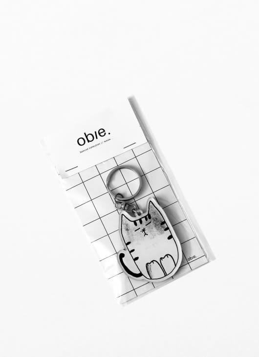 Obie Black & White Meow.02 Keychain