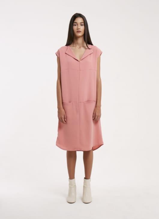 Wastu x Wastu Pink Three Panel Crepe Dress