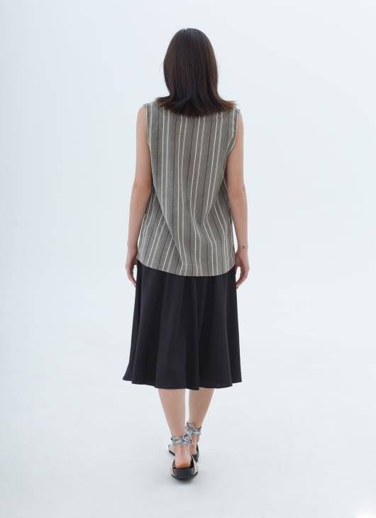 Nikicio Stripes Green & Gray Claudia V-Neck Top