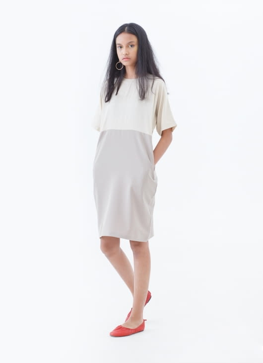 Nikicio Nude & Beige Analog Two Tone Dress