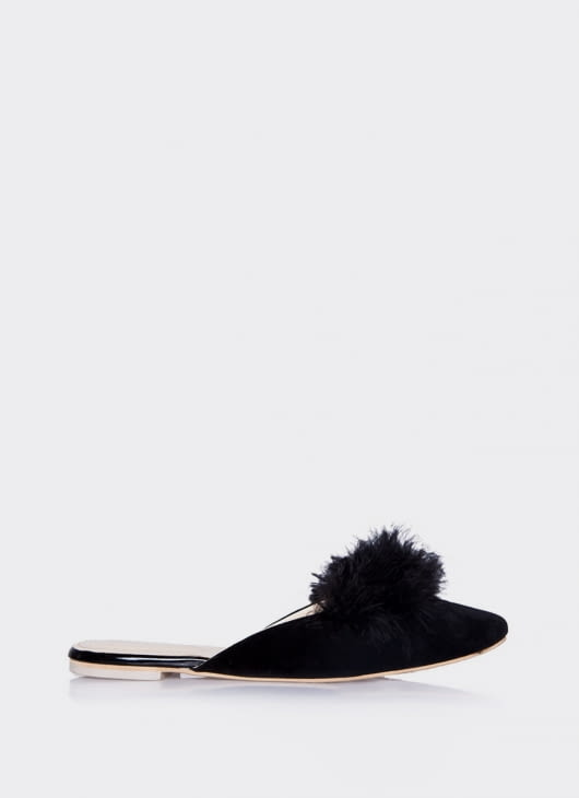 Valencia Black  Furry Flats