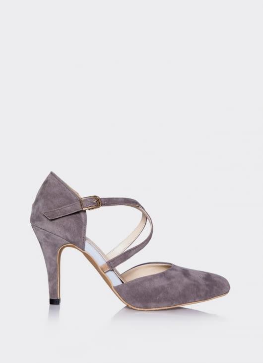 Valencia Gray Cross Heels