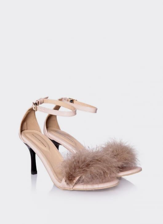 Valencia Cream Furry Heels