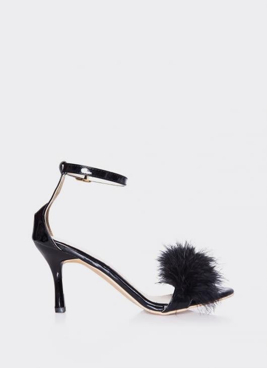 Valencia Black Furry Heels