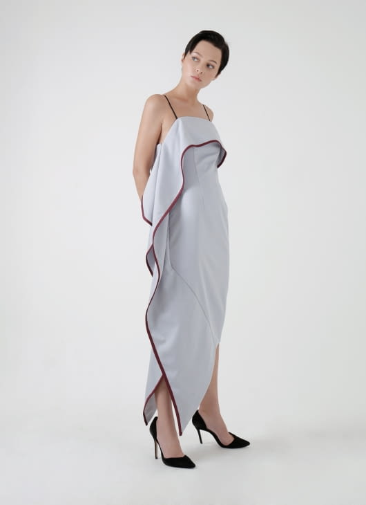 Amanda Rahardjo Light Gray Contour Dress