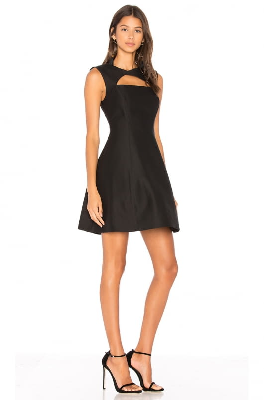 Halston Heritage Asymmetrical V Neck Dress