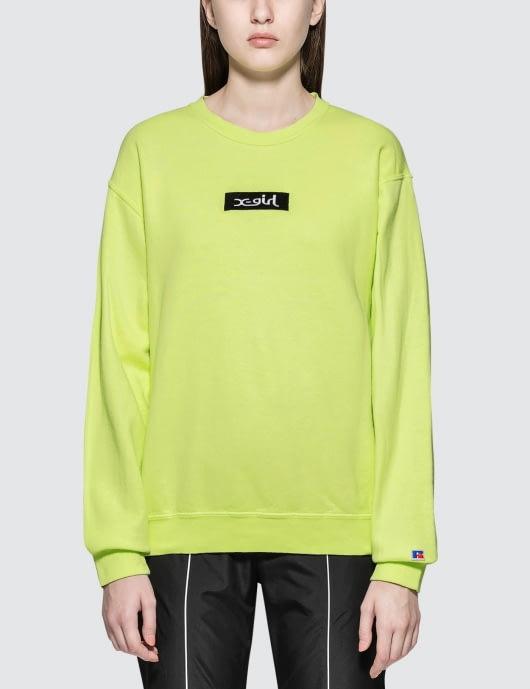 X-Girl X-girl X Russell Box Logo Crew Sweatshirt