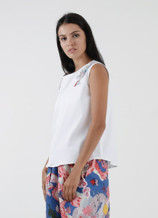 DIBBA White Cotton Naga Head Top