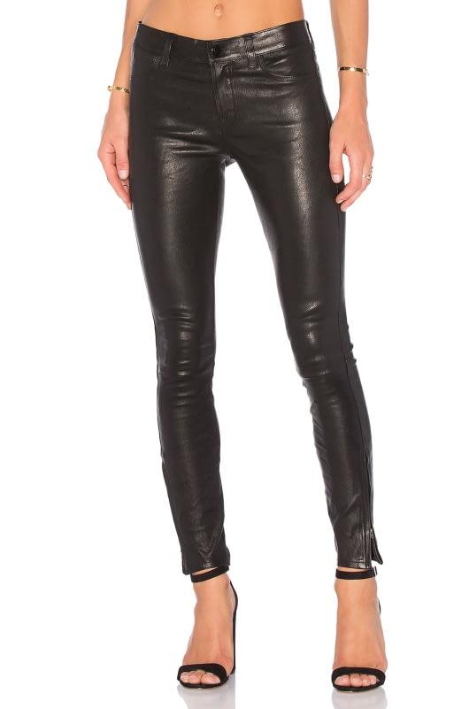 J Brand Mid Rise Leather Skinny