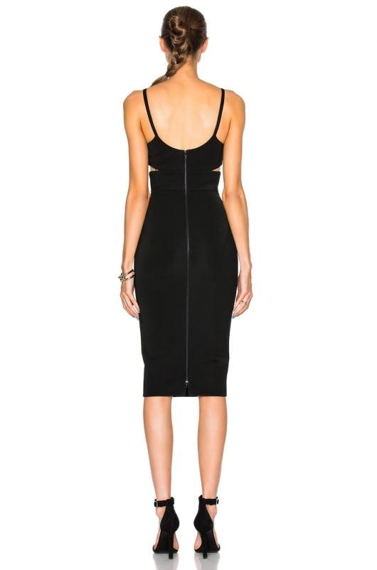 Victoria Beckham Wool Gabardine Rib Cut Out Fitted Dress