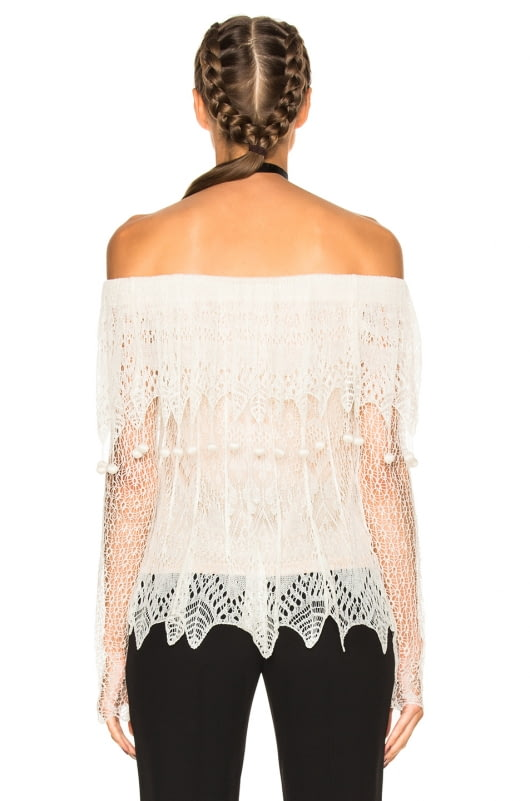 Alexander McQueen Off the Shoulder Lace Sweater