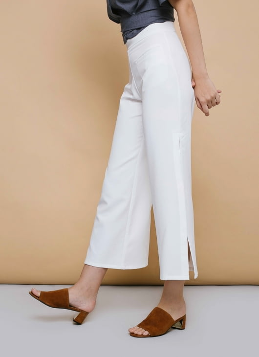 CLOTH INC White Ivy Slit Pants
