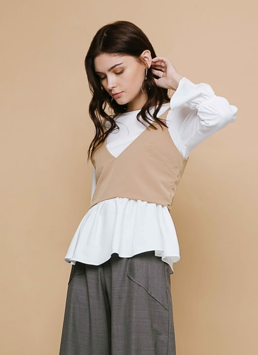 CLOTH INC White & Ginger Blouse