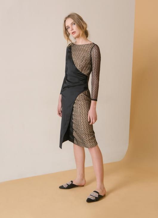 Reves Studio Black Three Buttons Lace Midi Dress