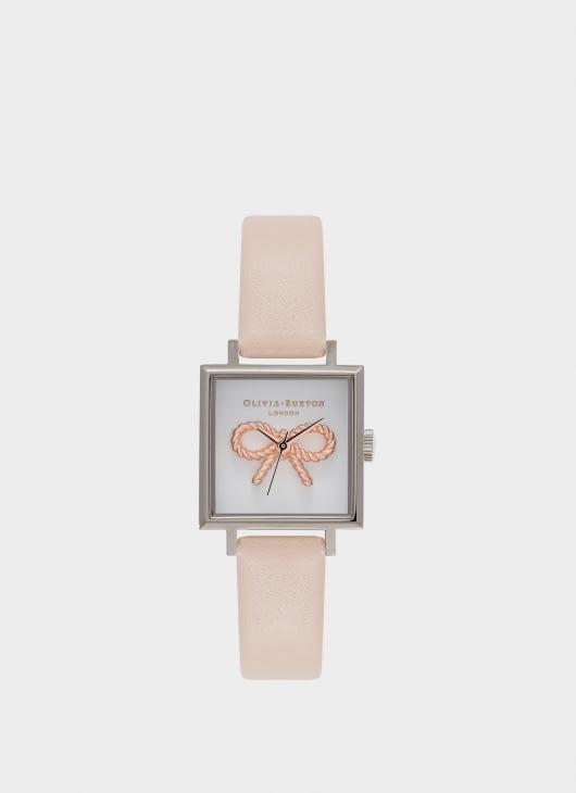 Olivia Burton Nude Peach & Silver OB16VB02 Vintage Bow Watch