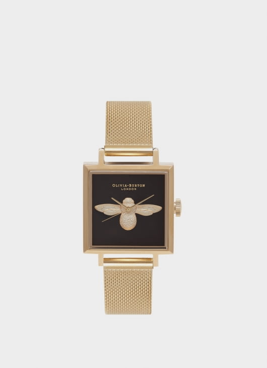 Olivia Burton Black & Gold OB16AM90 Dial Square Mesh Watch