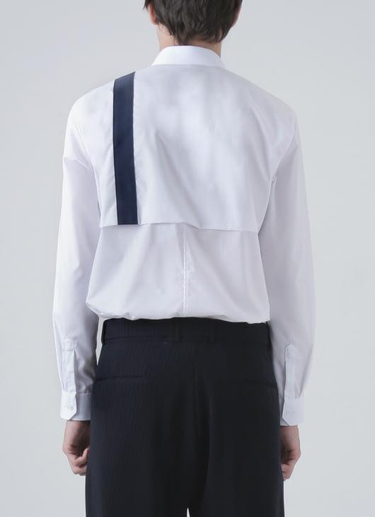 Moussa White Lika Half Stripe Shirt