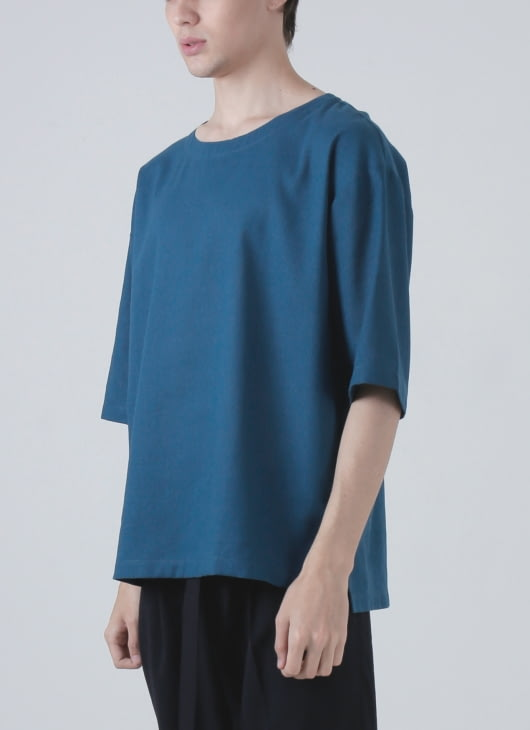 jan sober Blue Linen Oversized Top