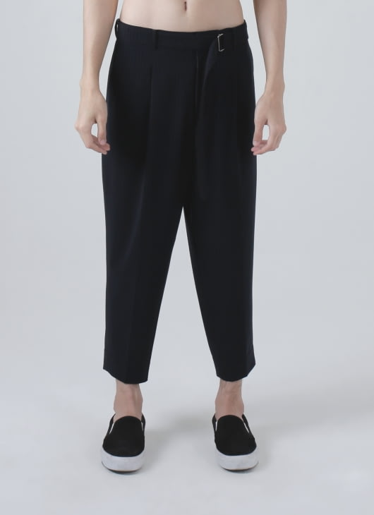 jan sober Navy Blue Pintstriped Cropped Trousers