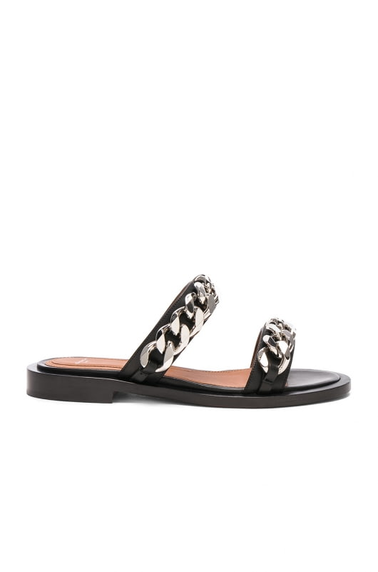 Givenchy Leather Two Strap Chain Flat Sandals