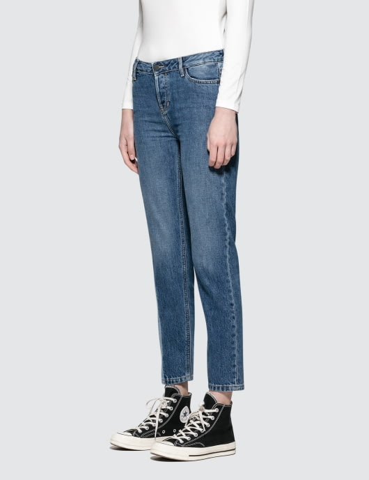 Calvin Klein Jeans Straight Ankle Jeans With Dark Vert