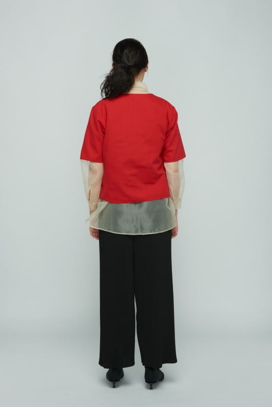 Shopatvelvet Red Facade Top