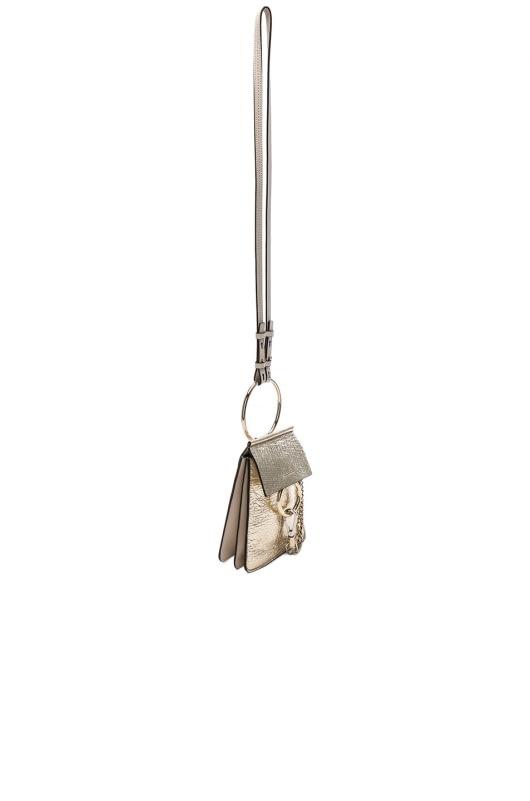 Chloe Small Faye Metallic Lambskin, Calfskin & Suede Bracelet Bag