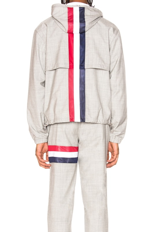 Thom Browne Plain Weave Wool Zip Up Hoodie