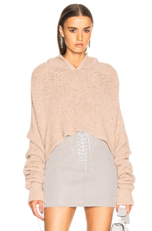 Unravel Mesh Cropped Knit Hoodie