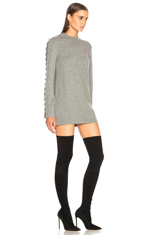 Chloe Superfine Knit Embellished Sleeve Sweater Dress