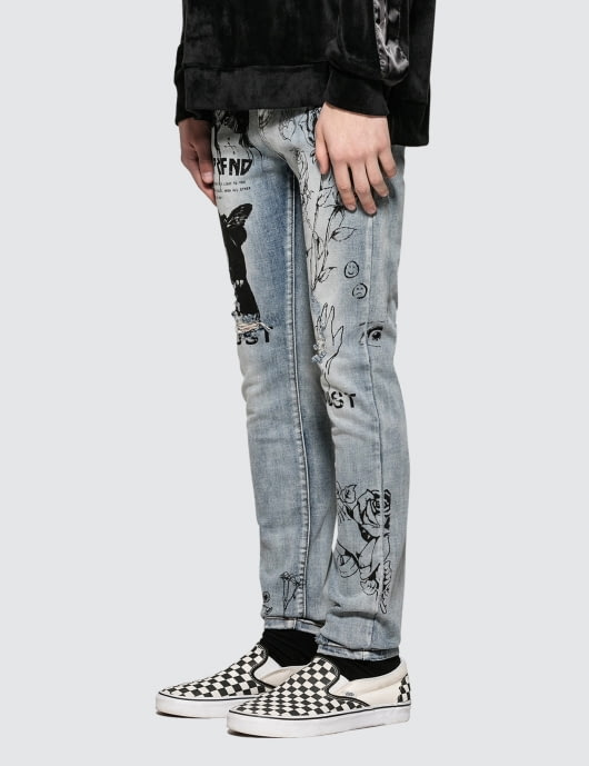 Profound Aesthetic Printed Hand Art Jeans