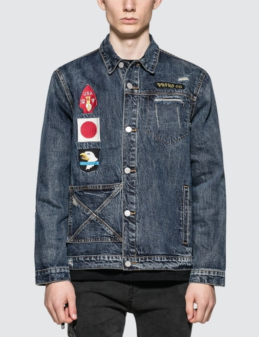 "Profound Aesthetic ""We Are Our Choices"" Dark Washed Denim Patch Jacket"