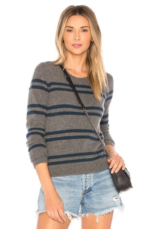 James Perse Cashmere Striped Shrunken Crew Sweater