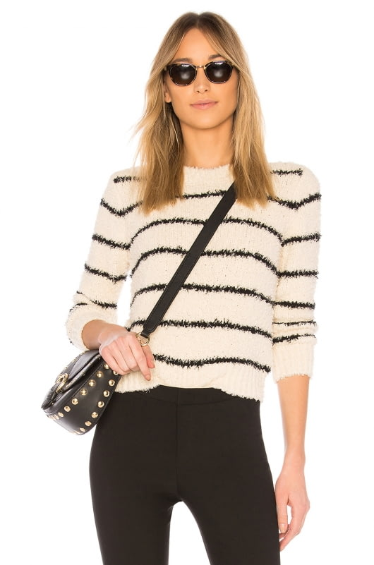 Vince Fuzzy Striped Crew Pullover