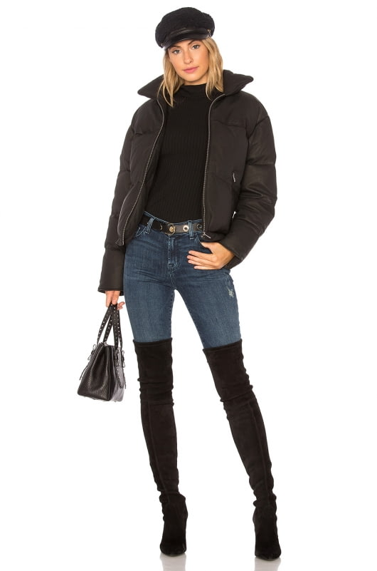 June Washed Leather Puffer With Rabbit Fur