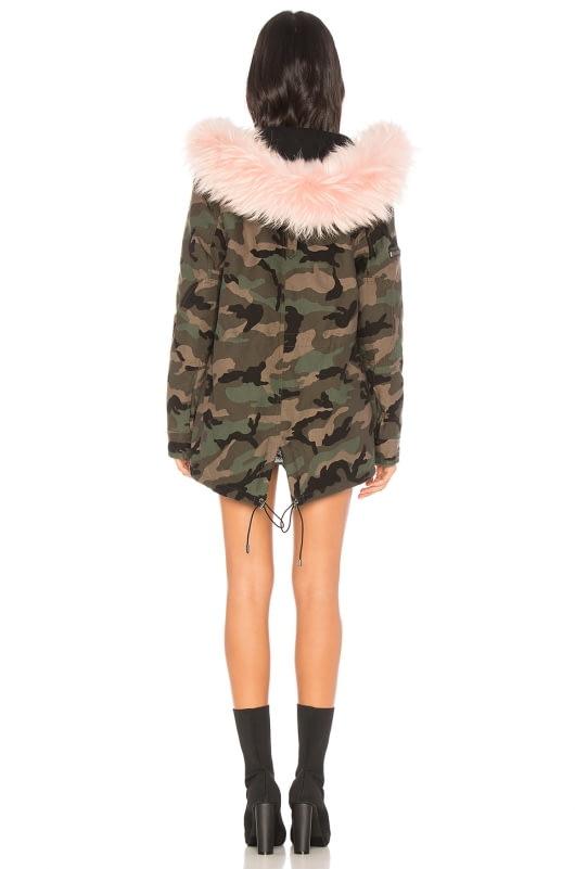 SAM. Camo Mini Hudson Jacket With Raccoon Fur