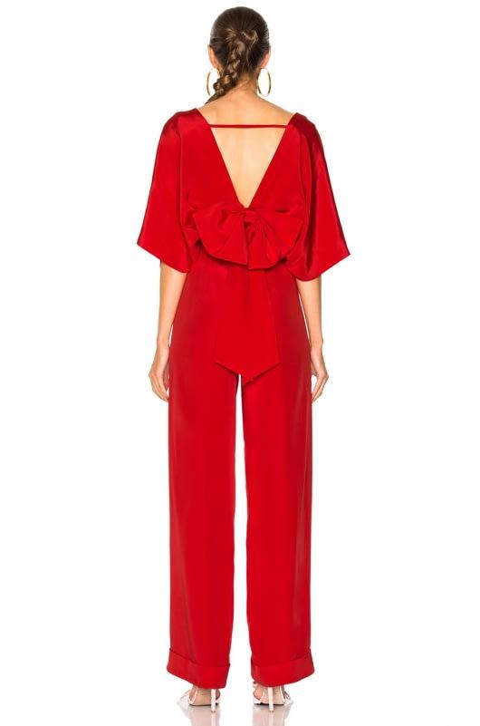 Johanna Ortiz Red Canna Silk Crepe Jumpsuit