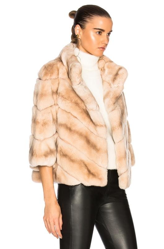 Yves Salomon Rabbit Fur Quarter Sleeve Jacket
