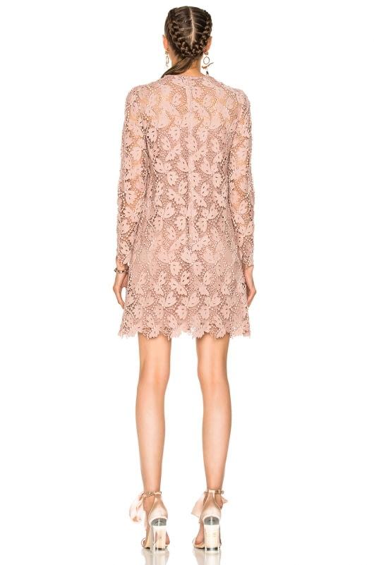 Valentino Embellished Lace Long Sleeve Dress